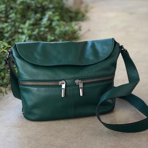 5adca050e6bf Elizabeth and James Handbags - Elizabeth   James Green Leather Foldover  Crossbody